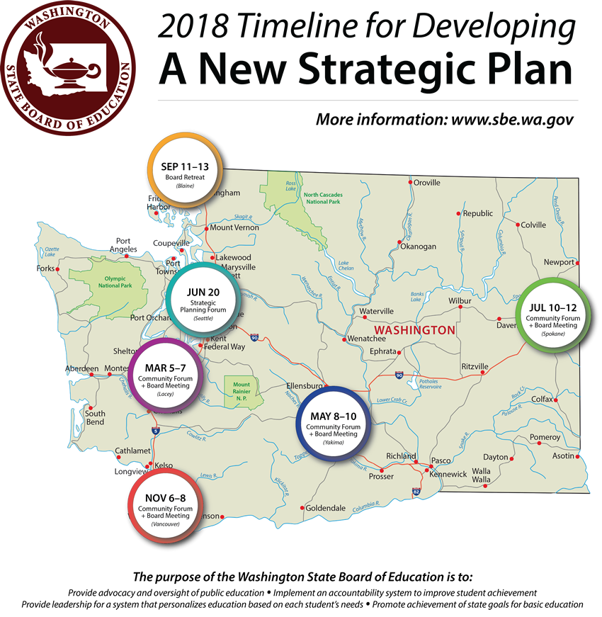 Map of Washington displaying where the SBE will travel during 2018