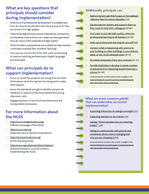 One Pager on NGSS: Overview For Principals