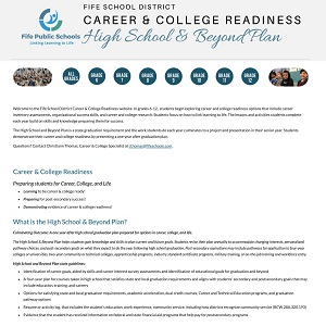 Fife Public Schools Career and College Readiness page